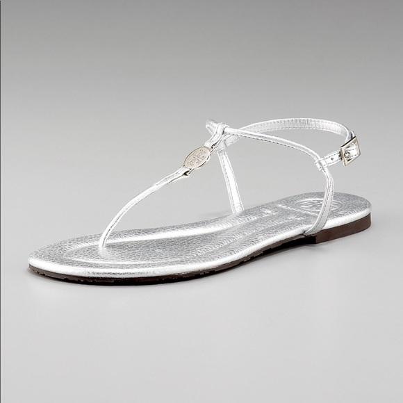71340a84c207 Tory Burch Silver Emmy Thong Sandal Size 7.5. M 5ab48f6ac9fcdf02901a547e